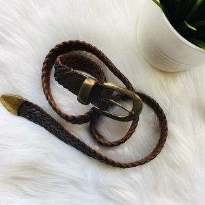 CAPEZIO VTG Braided Genuine Leather Brown Belt